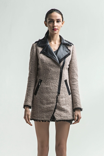 Slim Wool Coat with Leather Collar [FEBK0395]- US$109.99 - PersunMall.com