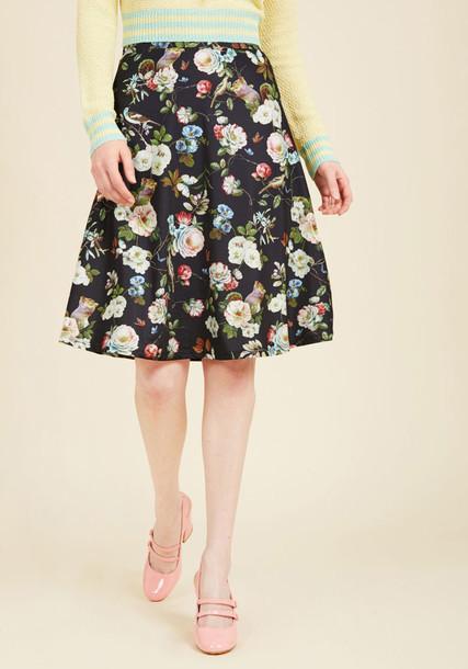 17057/02 skirt black skirt birds midi black knit