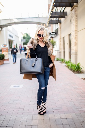 gbo fashion blogger sweater jeans shoes coat bag jewels sunglasses camel coat winter outfits handbag sandals high heel sandals