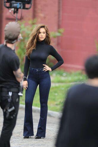 jeans flare jeans top jessica alba denim turtleneck