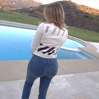 jacket instagram jeans khloe kardashian biker jacket