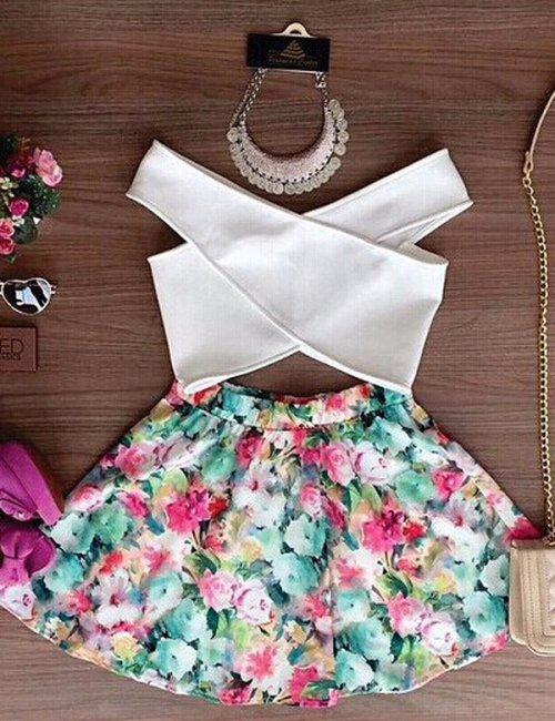 Women's Cross Crop Top and Skirt Set Floral Printed