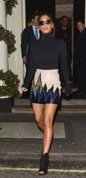 skirt,leather,leather skirt,fall outfits,fall skirt,nicole scherzinger,booties,turtleneck,top,emilio pucci
