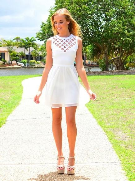 white dress flowy cut-out dress graduation dress summer dress clothes short dress classy