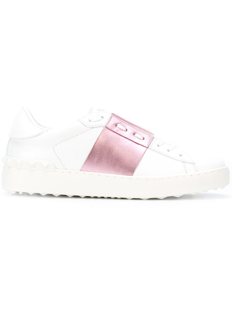 Valentino open metallic women sneakers leather white pink shoes