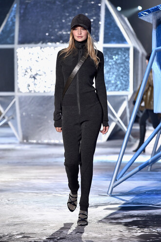 jumpsuit fashion week 2015 gigi hadid hat h&m