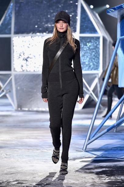 jumpsuit fashion week 2015 gigi hadid hat h&m