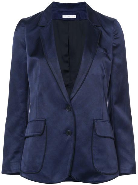 blazer women classic cotton blue wool jacket