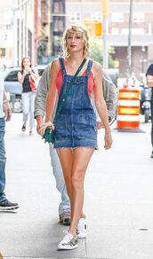 dress,denim,denim dress,top,tank top,summer outfits,sneakers,taylor swift,purse,shoes,gucci ace sneakers