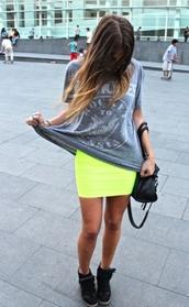 skirt,neon skirt,yellow skirt,neon yellow,funky colours,blouse,bag