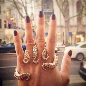 jewels octopus ring big rings gold ring jewelry rings knuckle ring jewelry hand jewelry ocean original gold bijoux bagues 5 fingered ring