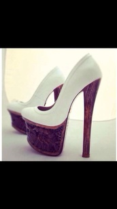 shoes,white heels,wooden platforms