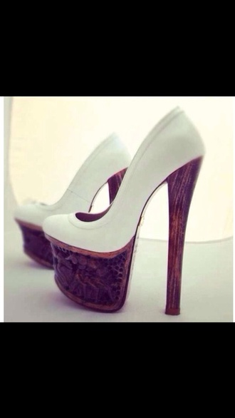shoes white heels wooden platforms