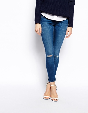 Dark blue knee ripped jeans – Global fashion jeans collection