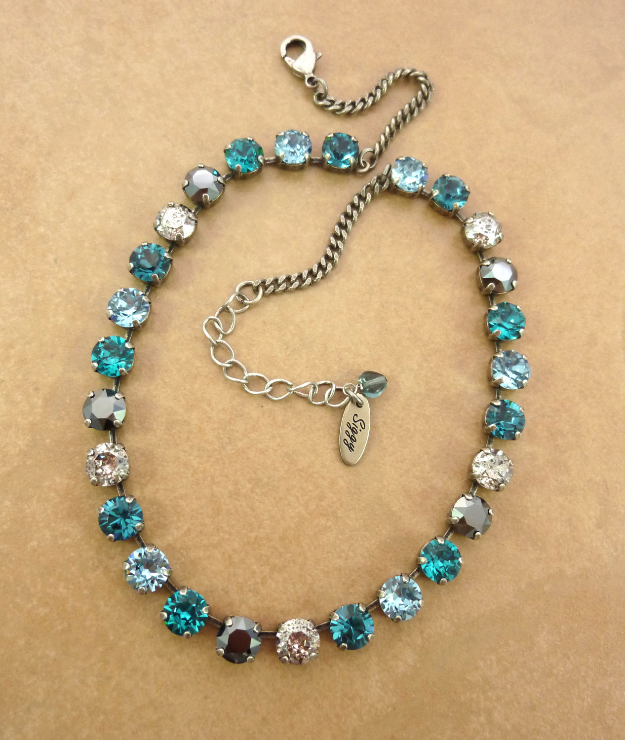 Swarovski crystal necklace, aqua, hematite, new patina crystals, 8mm designer inspired crystal necklace