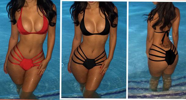 swimwear bikini halter neck black red sexy summer hot sale