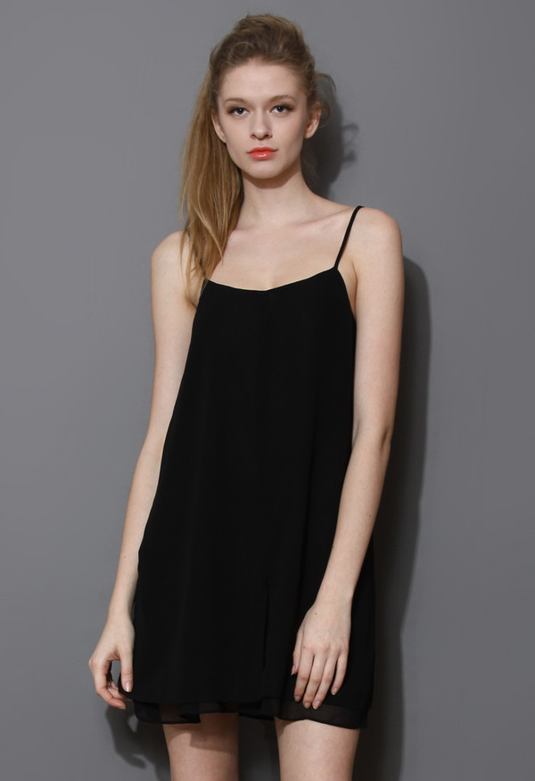 Dress Cooling Black Chiffon Slip Dress Wheretoget