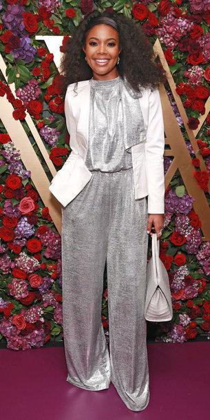pants blouse metallic silver gabrielle union wide-leg pants