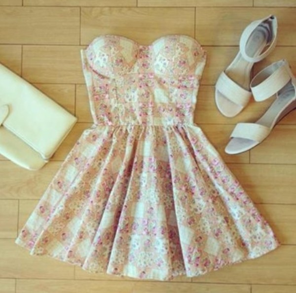 shoes floral bustier dress bag floral dress