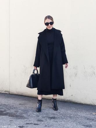 trini blogger sunglasses coat skirt shoes bag winter outfits black coat all black everything black bag handbag ankle boots