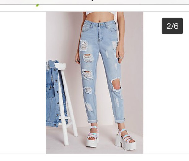 Jeans: boyfriend, mom jeans, ripped, denim, ripped, high waisted ...