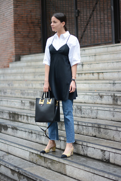 fashion vibe blogger dress jeans shoes shirt bag