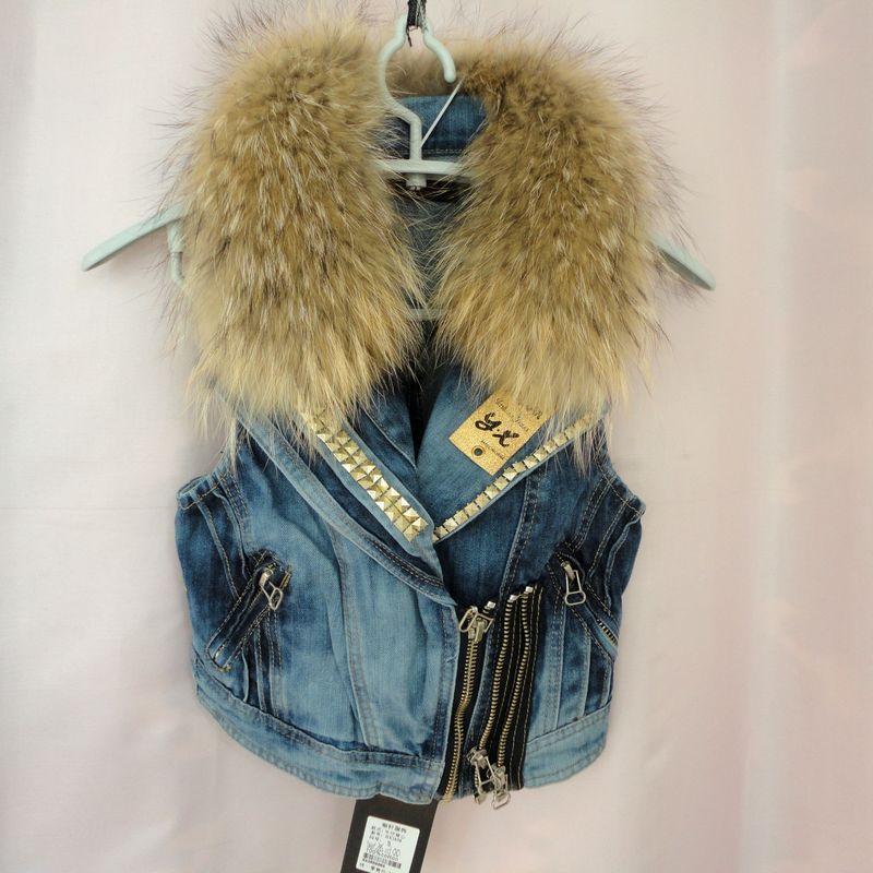 2014 women cool motorcycle real raccoon fur collar rivet studded denim vest, thicken cotton padded lining denim jean vest coat