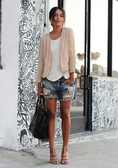 sincerely jules,jacket,blouse,t-shirt,shorts,shoes,jewels,embroidered jacket,loose white tee