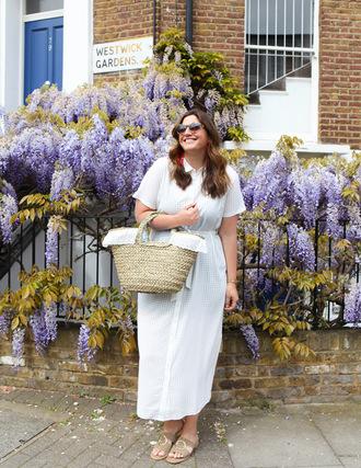 fashion foie gras blogger dress bag jewels shoes basket bag summer outfits midi dress white dress sandals