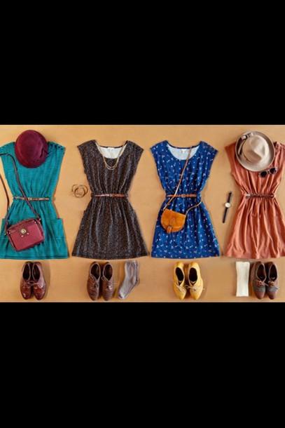 dress boho chic trendy style outfit cute blue brown tan red flowers floral floral dress dress short short dress hat shoes loafers sandals pouch bag satchel straps hunt