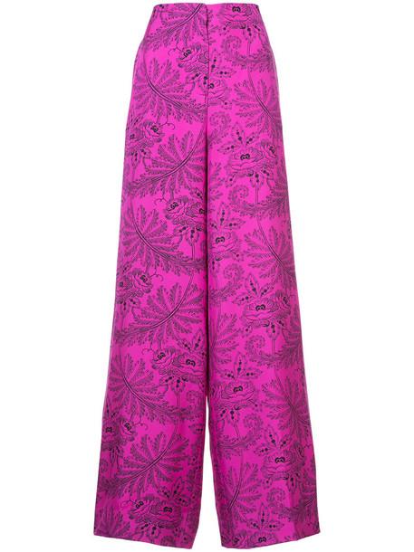 women print silk purple pink pants