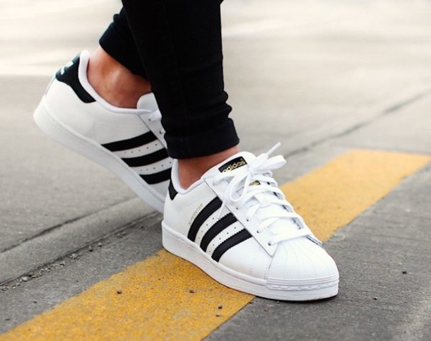 low priced 8770b fccfd shoes adidas adidas shoes black white stripes sneakers white sneakers adidas  superstars