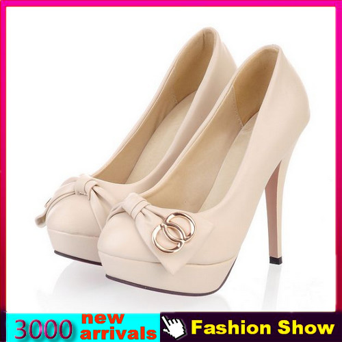 Sexy Red Bottom Shoes 2014 New Fashion High Heels Platform Pumps for Women Casual Sweet Bow Shoes Party Evening Pumps JDM382-in Pumps from Shoes on Aliexpress.com