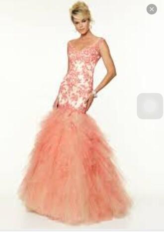 dress coral coral dress prom dress mermaid prom dress long prom dress lace dress