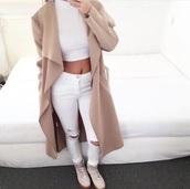 coat,tan,long coat,fashion,women long coat,fuzzy coat,waterfall coat,camel coat,beige coat,white jeans,white crop tops,jacket,nude,beige,long,cardigan,top,white,jeans,white top,white outfit