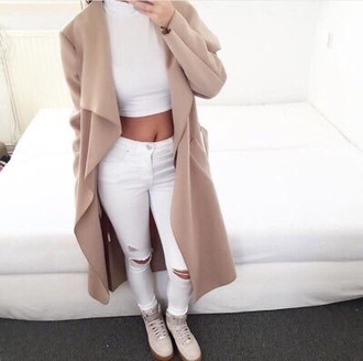 coat tan long coat fashion women long coat fuzzy coat waterfall coat camel coat beige coat white jeans white crop tops jacket nude beige long cardigan top white jeans white top white outfit