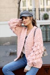 lady addict,blogger,jeans,cardigan,knitted cardigan,fisherman cap,gucci bag,pink cardigan