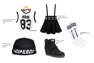 skirt black korean fashion skater skirt overalls black skirt