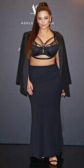 underwear,bra,ashley graham,curvy,plus size,maxi skirt