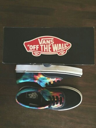 shoes tie dye tie dye tie and tye vans vans of the wall of the wall mark famous fancy nice cool hipster indie alternative grunge yellow orange printed vans