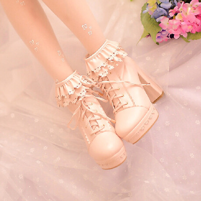 Sweet lolita ruffled japanese fashion hollow out high heels martin boots/k0316 · cute kawaii harajuku · online store powered by storenvy