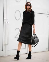 skirt,black skirt,black sweater,tumblr,midi skirt,boots,black boots,ankle boots,sweater,knit,knitted sweater,all black everything
