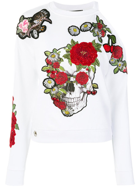 PHILIPP PLEIN sweatshirt skull women spandex floral white cotton sweater