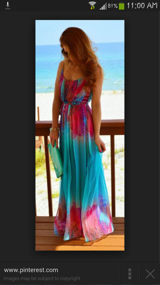 dress summer dress maxi dress colorful summer beach maxi dress