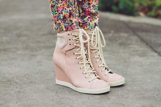 shoes wedge sneakers pink pink shoes style cool fashion girly girl laces wedges hidden wedge hidden wedges sneakers