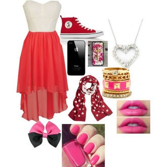 dress red and white high low dress converse converse high tops bracelets phone