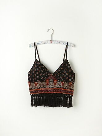 top bralette crop festival jewels shirt t-shirt bohemiam buddhism native american boho bralette boho crop top boho tassel tassels shirt crop tops cropped print aztec boho chic tumblr tumblr outfit tumblr girl indie girly girl outfit cut-out bustier bustier top tribal pattern pattern cute alternative hippie black and red bohemian tank top coachella vintage blues fashion summer summer top elmundodesage black chich fringes hipster