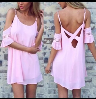 dress pink fashion trendy cute girly summer off the shoulder style rose wholesale-feb