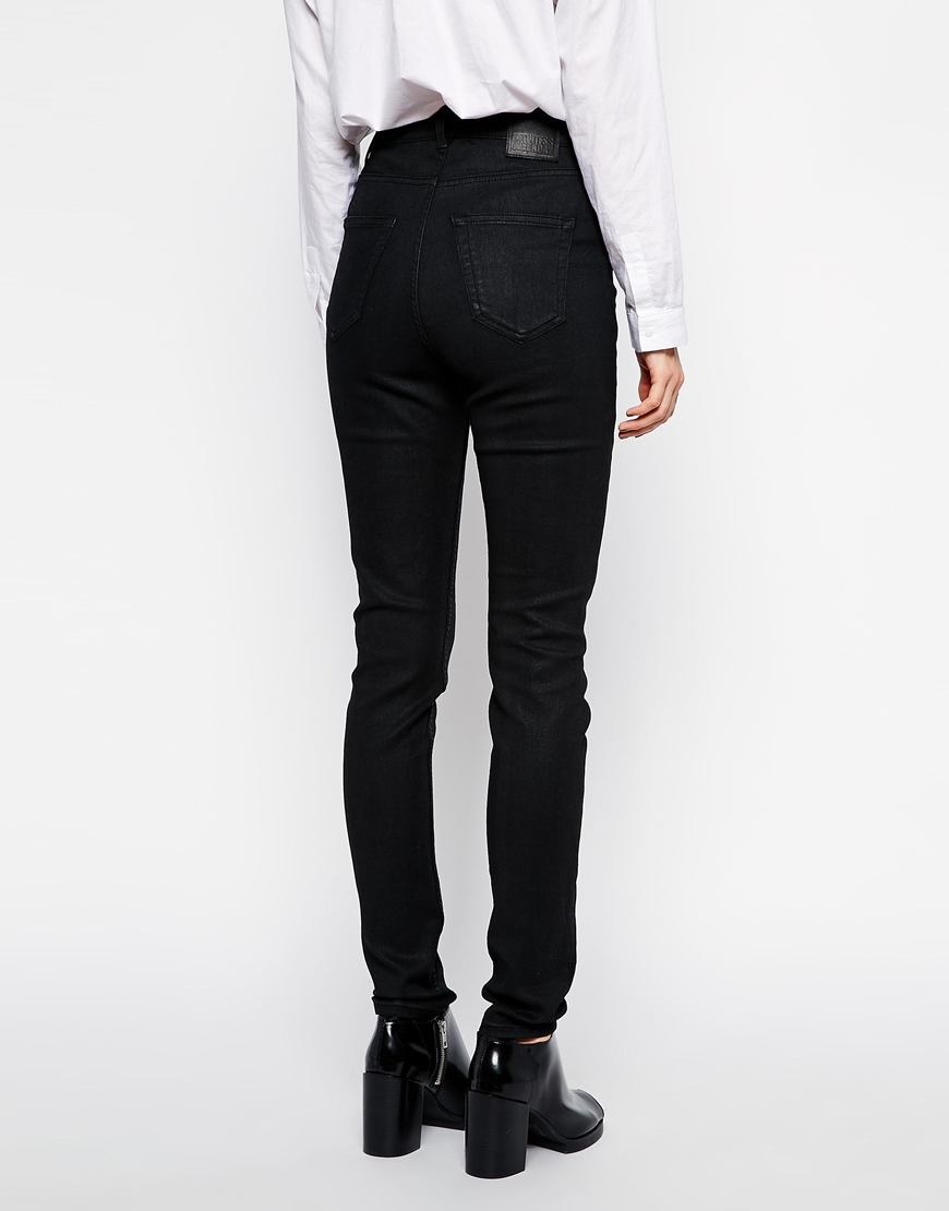 Weekday thursday high rise coated skinny jeans at asos.com