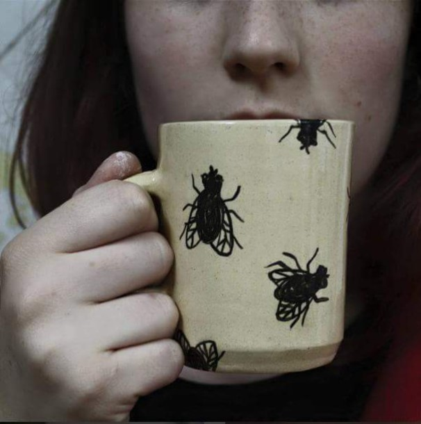 home accessory cup mug coffee bug grunge fly insects beige oatmeal glass